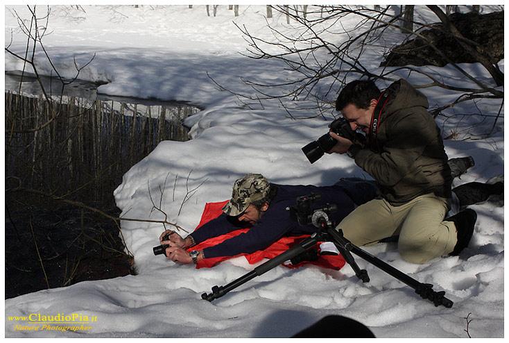 Io e Rocco (acremar.it) al lavoro sul ghiaccio, in quel momento stavo FILMANDO con la compatta