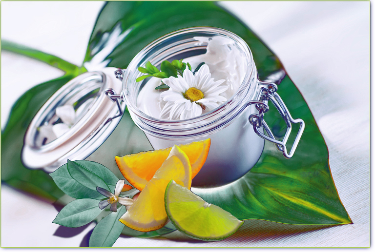 Skin cream and beauty flower