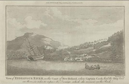 Endeavour_at_Endeavour_River,_engraving_c._1786